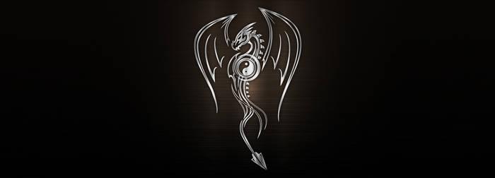 Vector silver metallic dragon