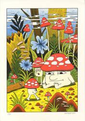 Mushroom World - Risograph print