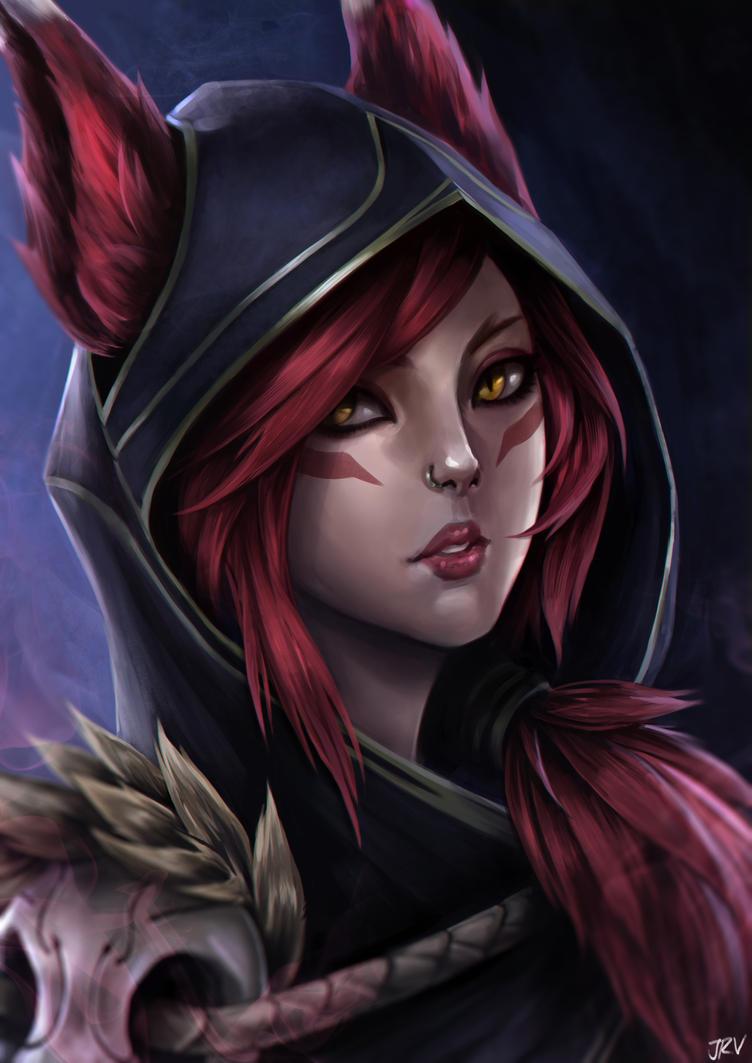 Xayah (League of Legends fanart) by abysskai