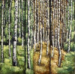 spring, autumn, love. through the birch trees