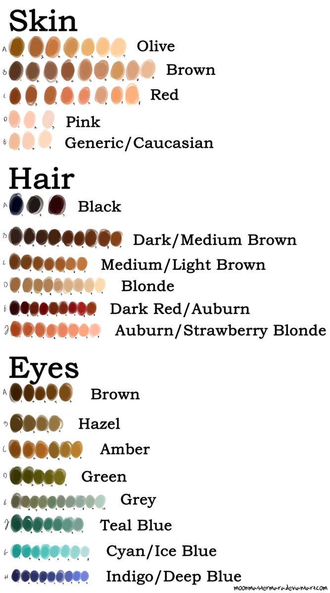 Human Color Palette (Remastered) by MoonMasterMara