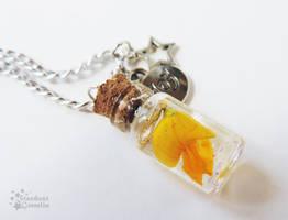 Joyful Birdsfoot Flower Bottle Necklace