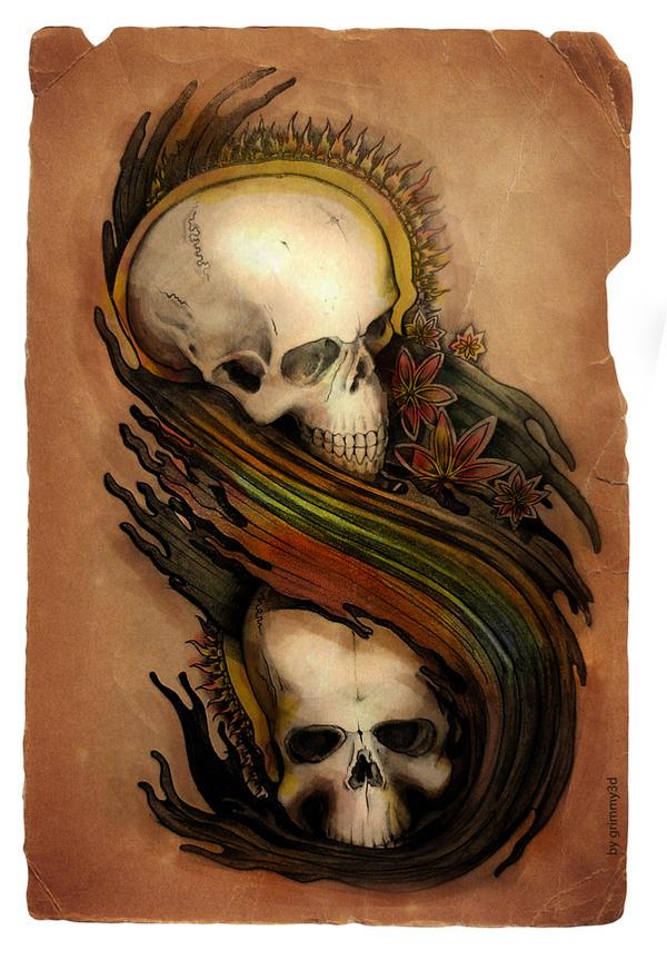 skulls tattoo by grimmy3d