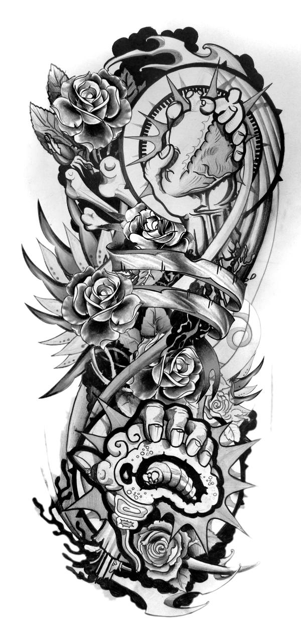 Tattoo Sleeve Sketches: New-school Sleeve Design By Grimmy3d On DeviantArt