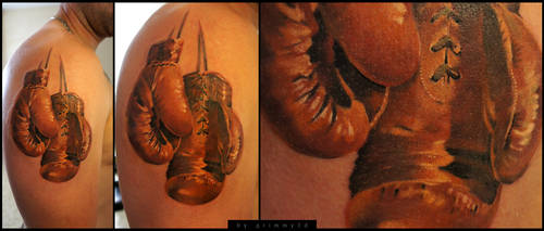 antique boxing gloves WIP by grimmy3d