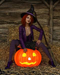 Witch Pumpkin Sitting 2018-02 by GrinCreeper
