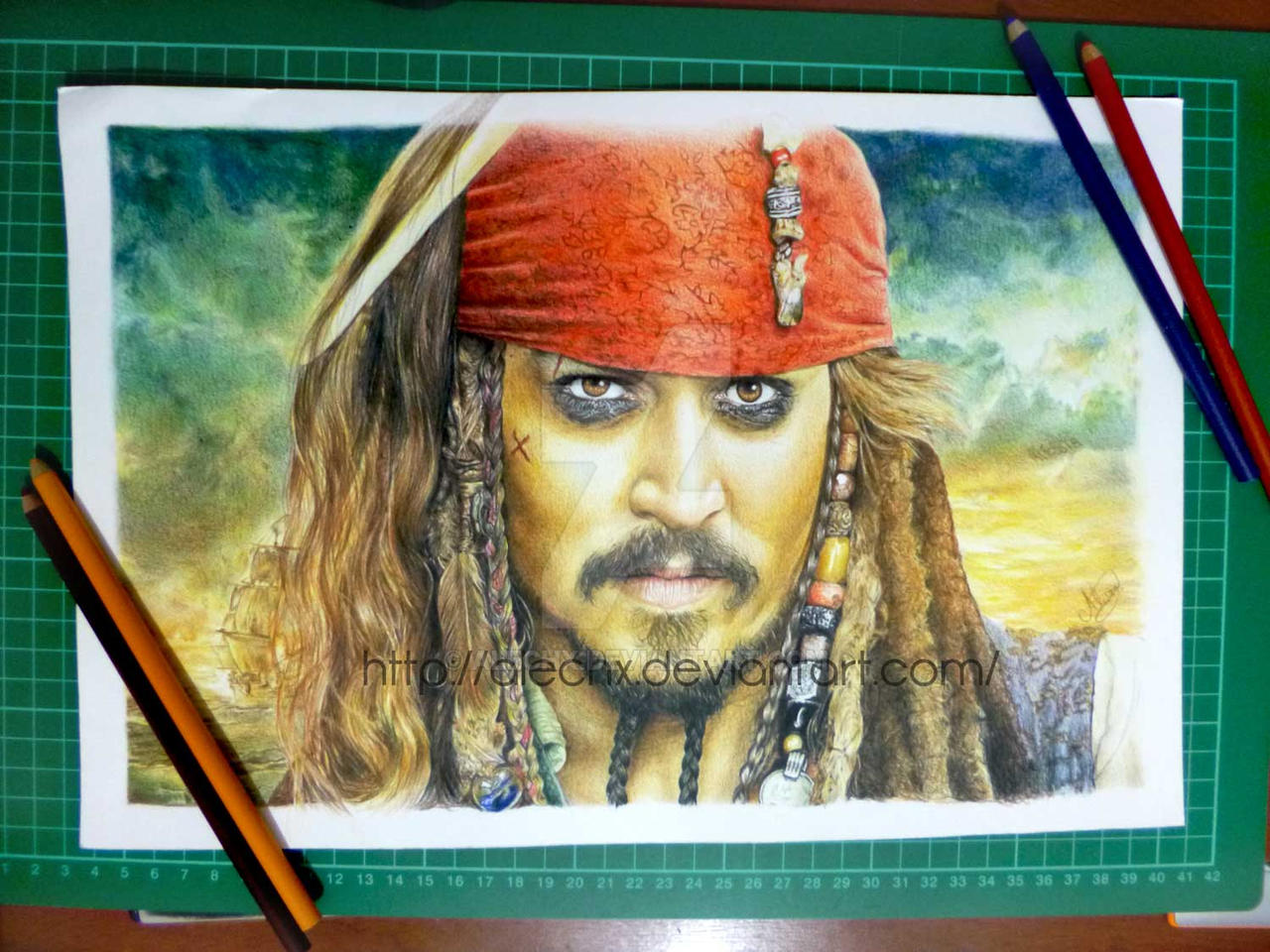 Jack Sparrow Color Pencil Drawing by Alechx on DeviantArt