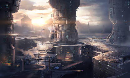 Sci-fi Buildings by mrainbowwj