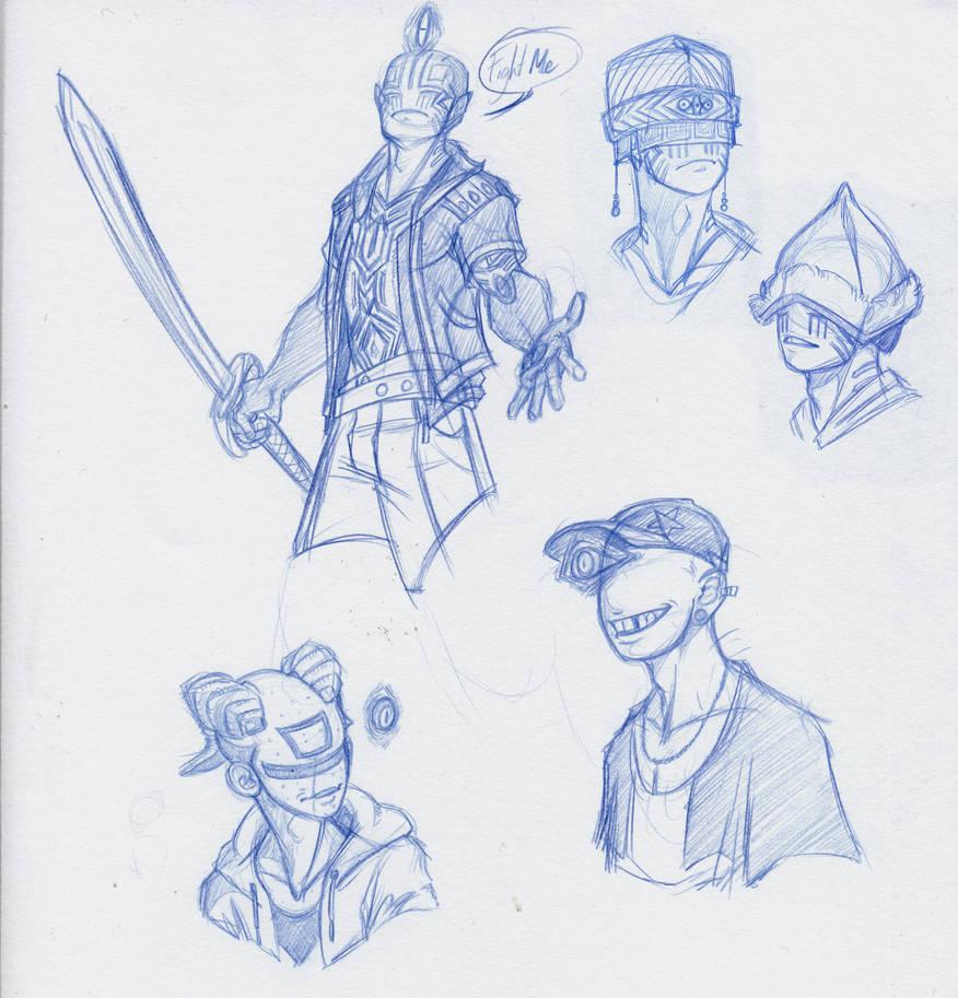 Floater doodles by Scarlet-Harlequin-N