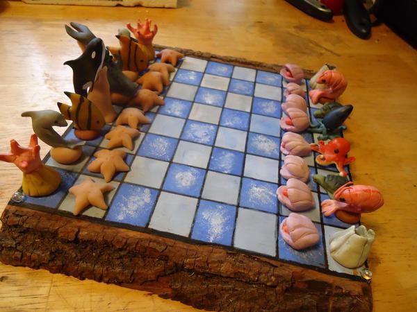 Sea Creatures Chess Set 1 by MyrHansen