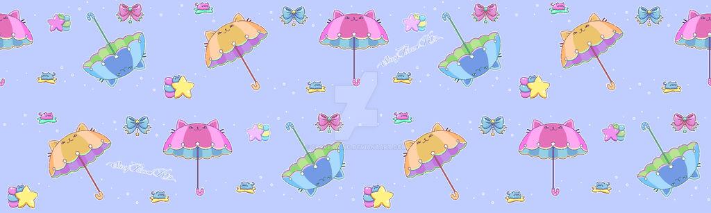 Starry Parasol Kitten - Spoonflower Fabric