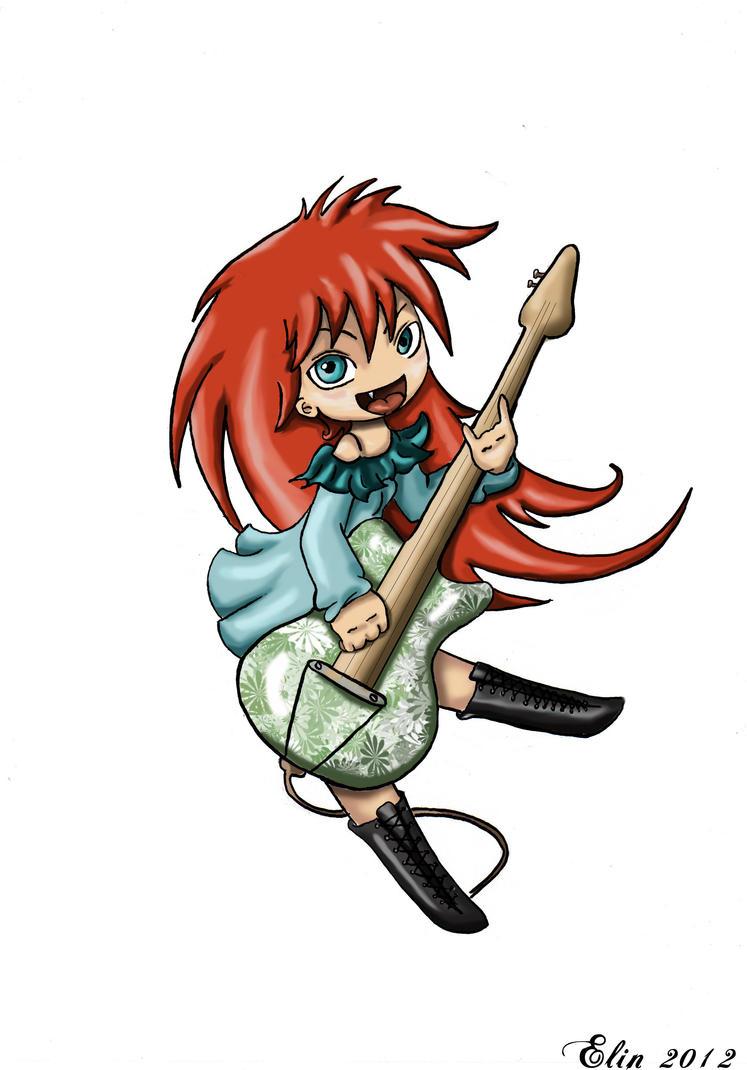 Ginger guitar girl by kitsune89