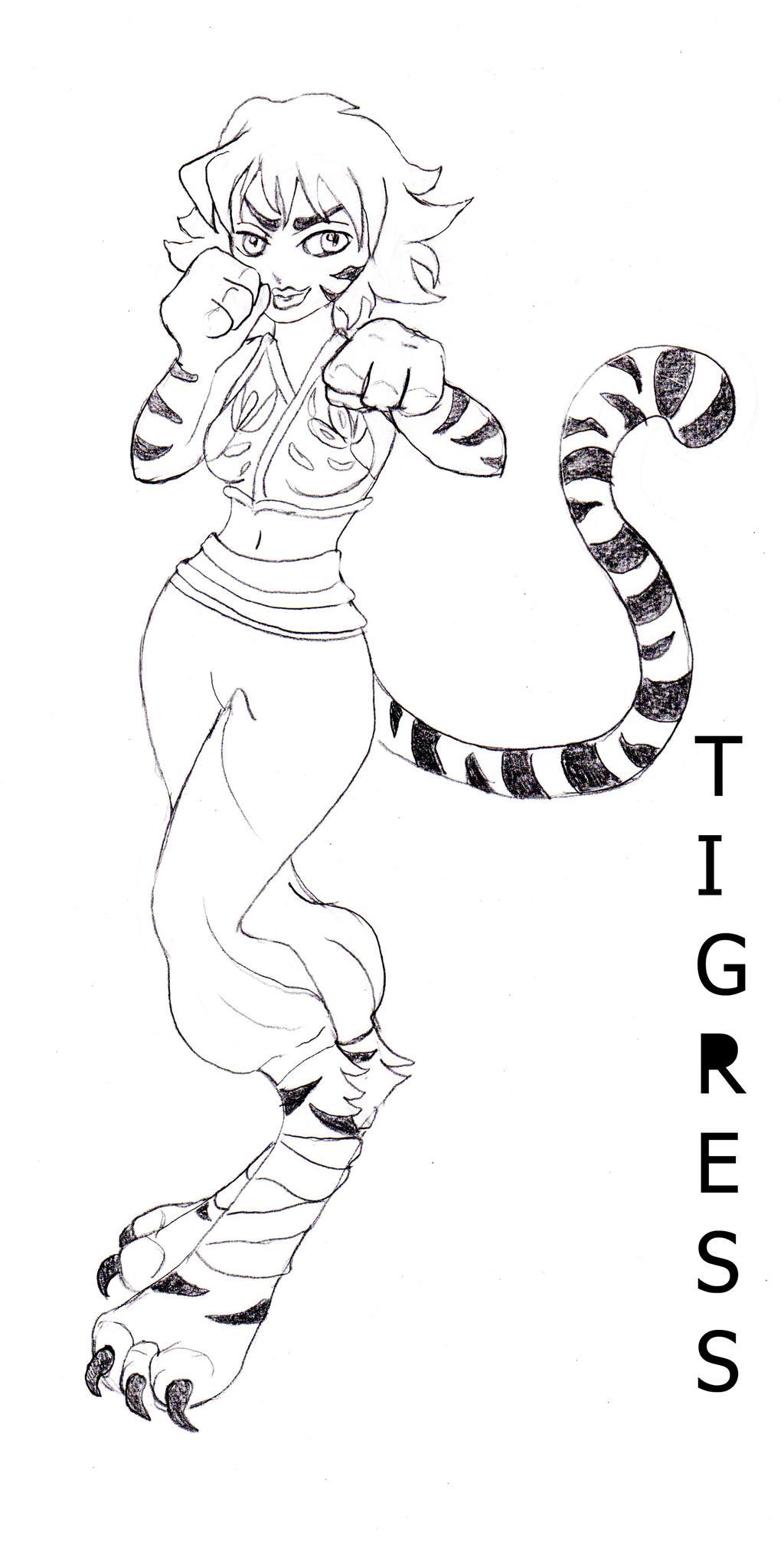Sketch tigress by kitsune89