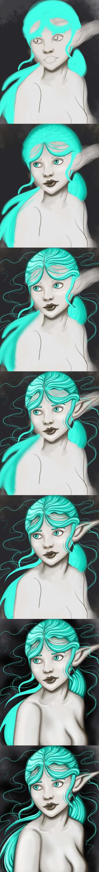 Work progress Neon girl by kitsune89