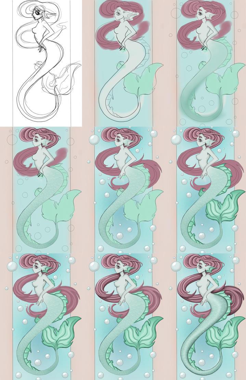 Work progress of my Mermaid by kitsune89