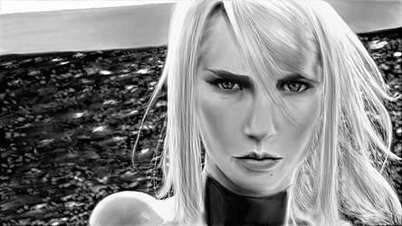 Samus Aran - Black + White [Exstential Edition] by cloudedrealm