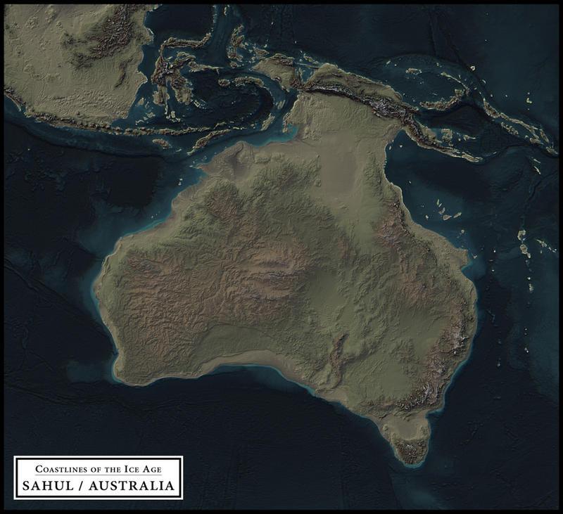 coastlines of the ice age sahul australia by atlas v7x