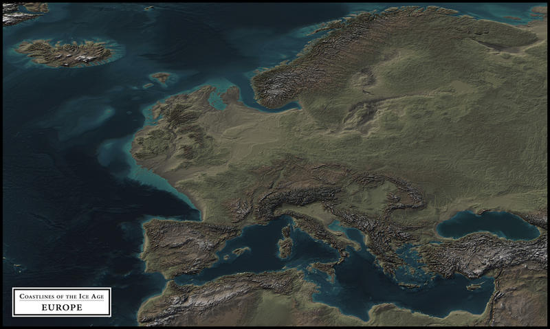 coastlines of the ice age europe by atlas v7x