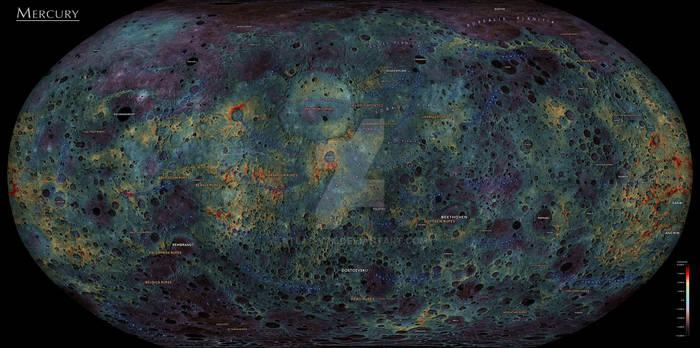 The Planet Mercury - Elevation Map