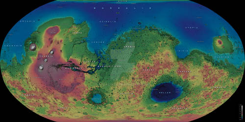 The Planet Mars - Elevation Map