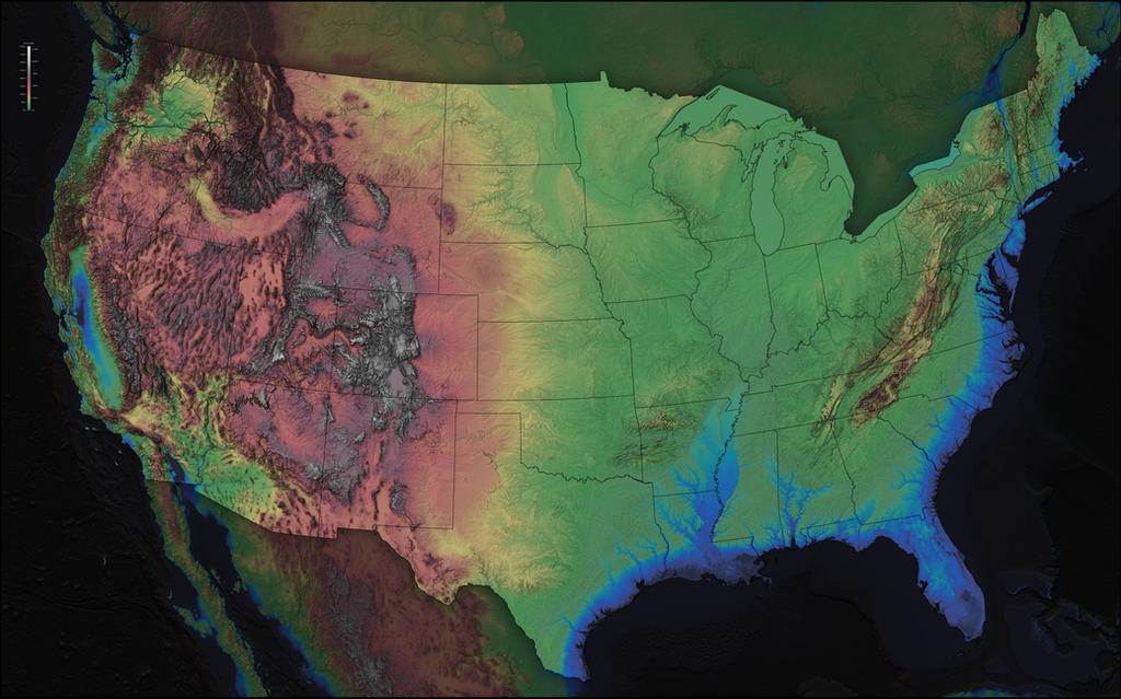 America Elevation Map (with state boundaries) by atlas-v7x