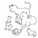Cat Family Lineart Outlined