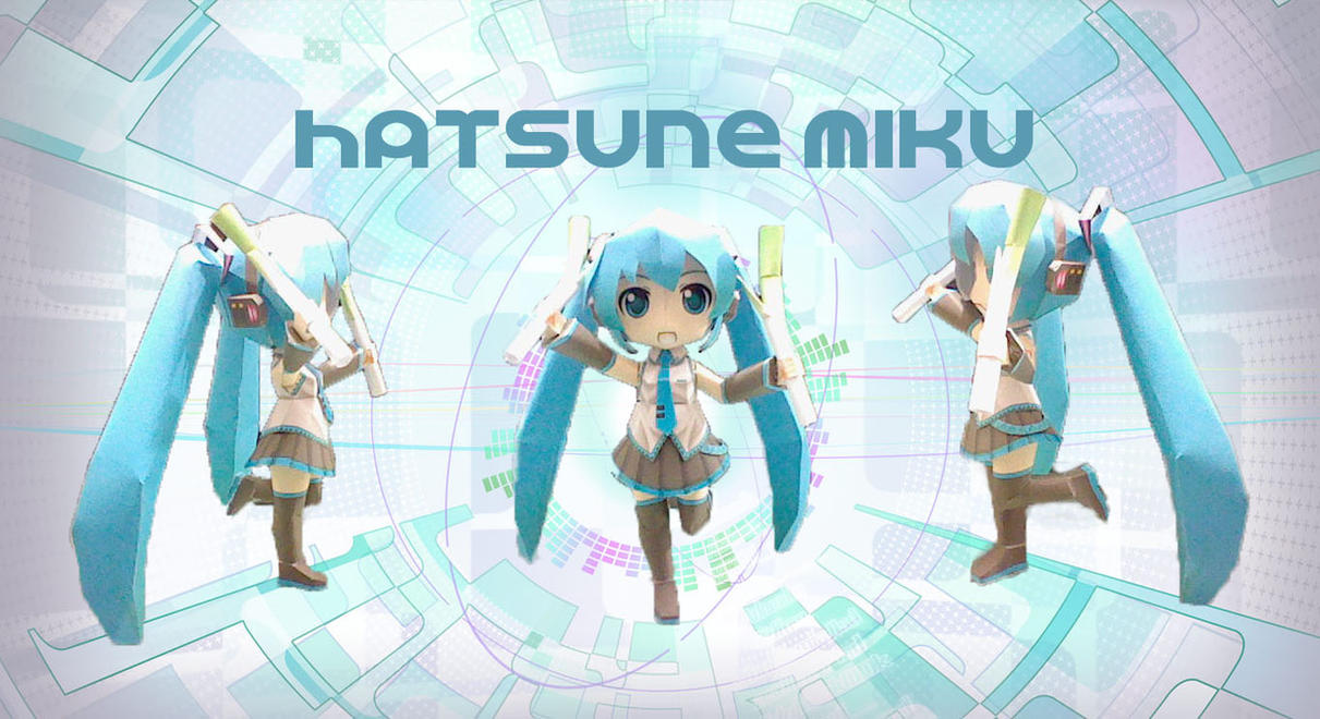 Chibi Hatsune Miku papercraft by DarkRockerRUS