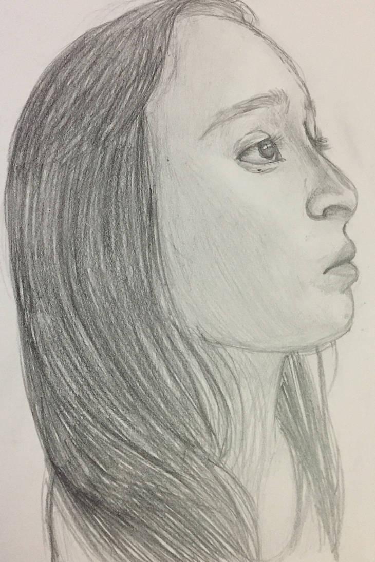 Side portrait of me by DRAWINGGIRL10