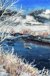 Winter River - Oil Painting by NumiComics