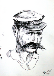 Old Sailor - Ink Drawing