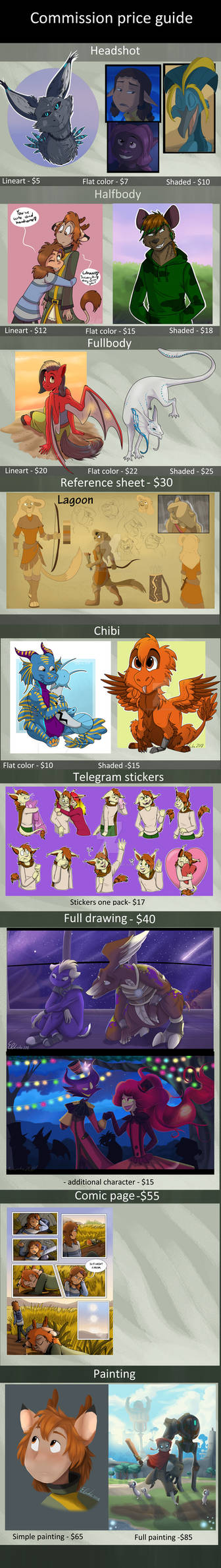 Commission price guide 2019 (open) by Eveeka
