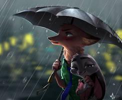 Rain drops and silence