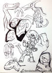 DinoKnights Sketches 05 - Misc Dinos and Pteranos