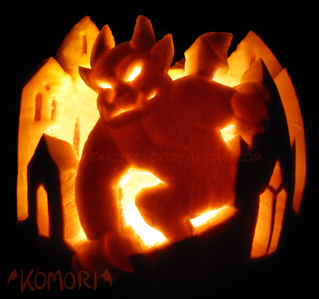 Gargoyle Pumpkin by ChaosKomori