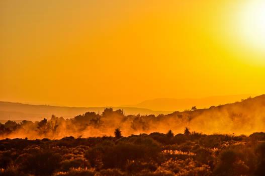Desert dusty sunset