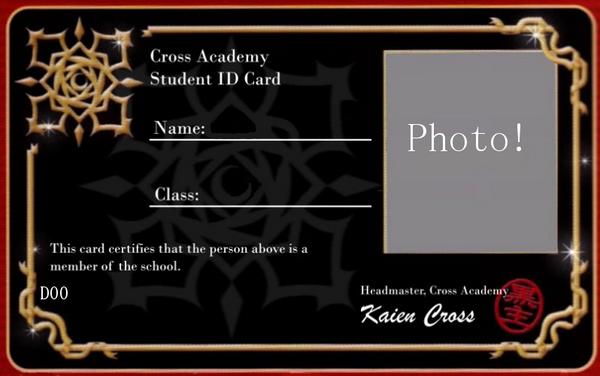 Vampire Knight Night Class ID card.Blank by zZLazyWolfZz on DeviantArt
