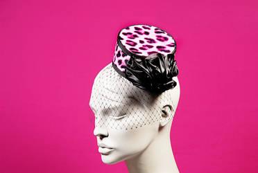 Glinda / Pink Leopard Pillbox Hat by wickedbyipek