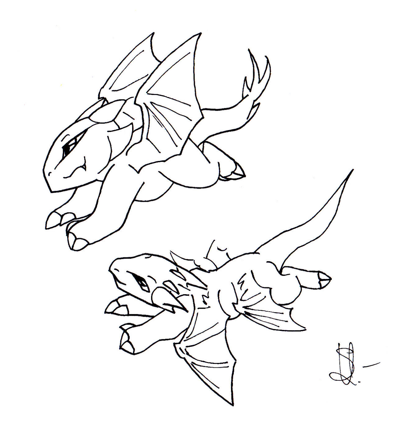It is a graphic of Critical Chibi Dragon Drawing