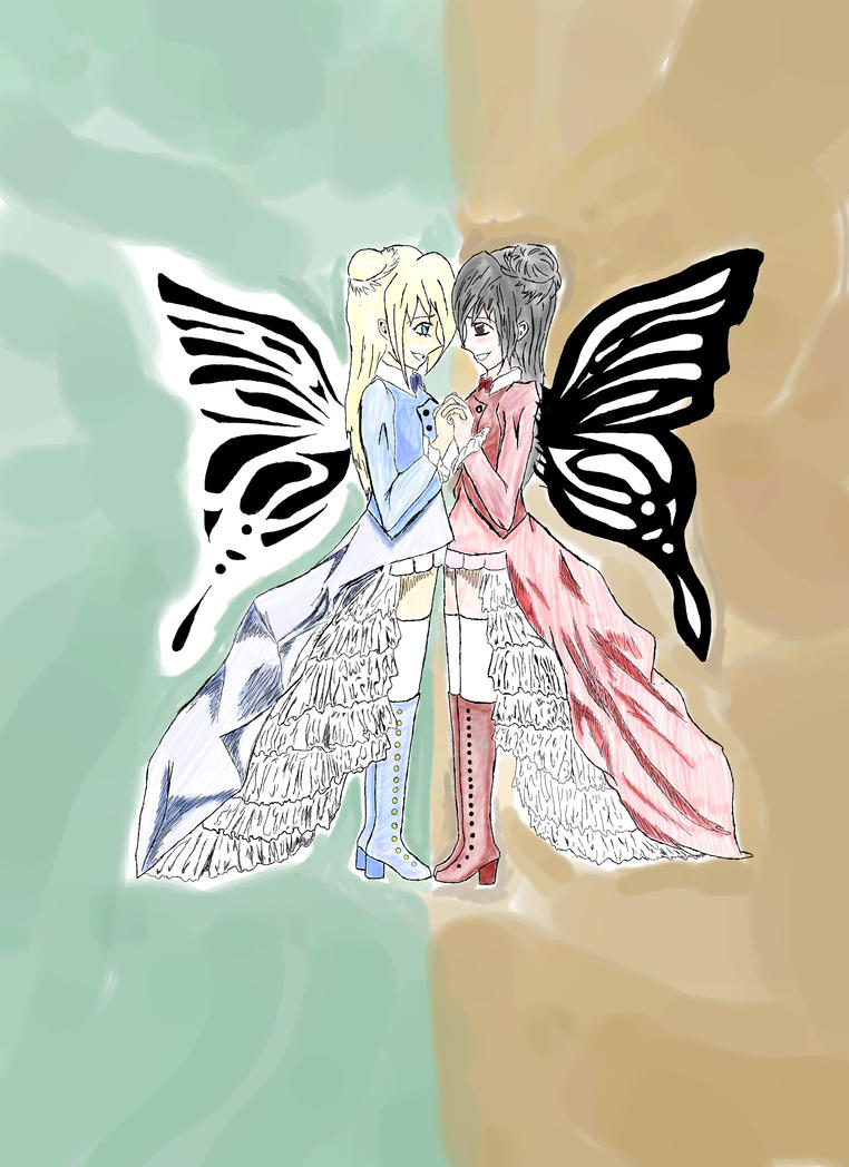 Butterfly Twins Colored by TheChibi-chan