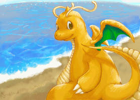 Sun Rays and Waves Dragonite by AltiaStudio