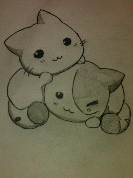 Chibi Cuddle Cats by ZiggySukai on DeviantArt
