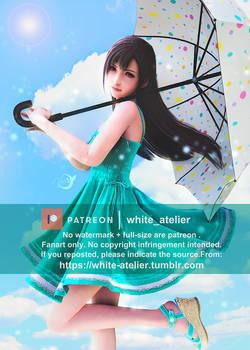 FFVII Remake : Teen Tifa-Girl holding an parasol