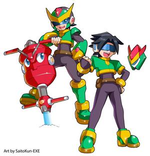 Commission: Aven and Mega Man Model Q
