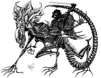 Darth Vader riding a Queen Xenomorph