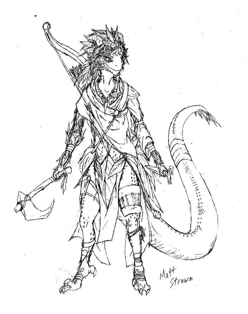 D Line Drawings : Zyrro the lizardfolk ranger by faullyn on deviantart