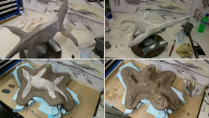 Getting ready to mould the Pliosaur...