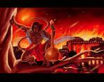 legendery hanuman buring lanka conept sketch
