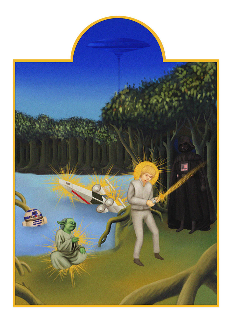 Luke training at Dagobah by xearslll