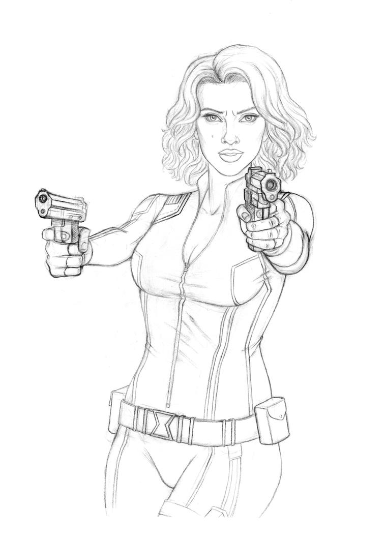 black widow coloring page - black widow aou pencils by mattsimas on deviantart
