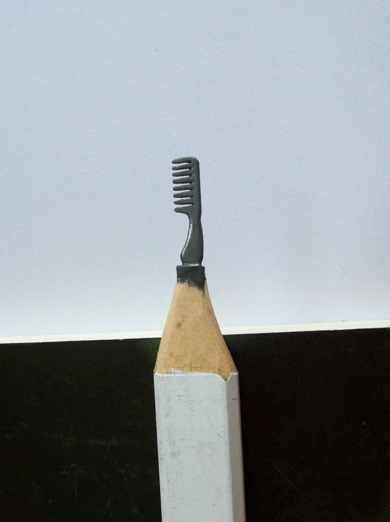 Pencil carving my daughter s comb by cerkahegyzo on